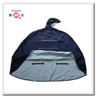 raincoat factory waterproof blue 210T nylon reflective rain poncho