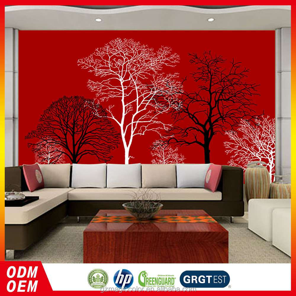PVC beauiful black and whiter tree design digital custom wallpapers red background wallpaper for hotel