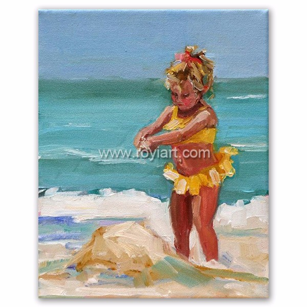Impressionist modern children playing beach oil painting on canvas