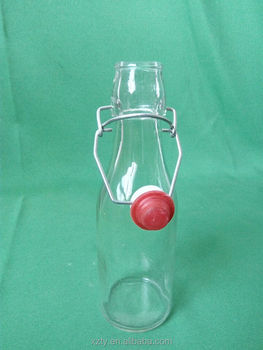 250 ml clear glass juice bottles with clasp