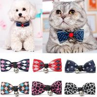 Hot Sales Multi Colors Lovely Bow Cats Dog Tie Dogs Bowtie Collar Pet Supplies Bell Necktie Collar