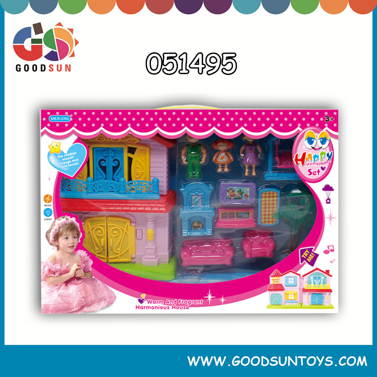 2015 hot sell mini lovely and cheap house villa house toys set for kids with furniture