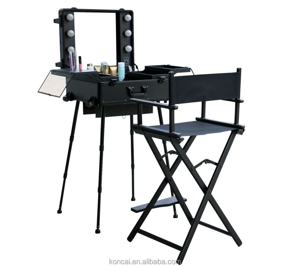 MOQ:1pc , Mobile Professional Portable Aluminum makeup case with lights /rolling trolley makeup train case with stands