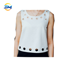 New design sleeveless round collar hem hole designs casual crop top women loose cotton blouse