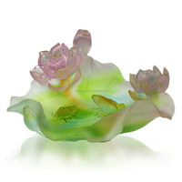 ARTBAY decorative casting glass crystal lotus flower with fish bowl