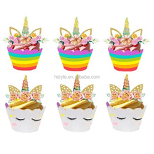 Unicorn Cupcake Toppers and Wrappers for Birthday Party Supplies Baby Shower Party Decorations PQ103