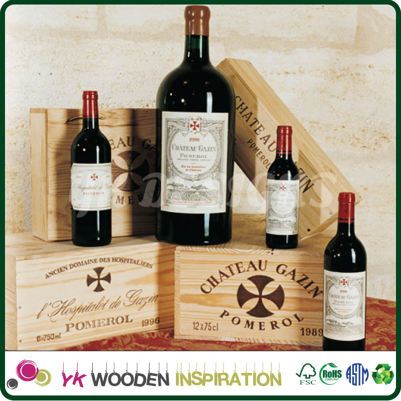 Handmade Vineyard Design Natural Wood Crate Wine Bottle Storage Box Carrying Display Case