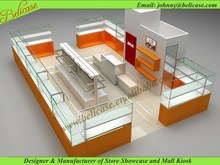 Phone accessories glass display store showcase and mall kiosk or island