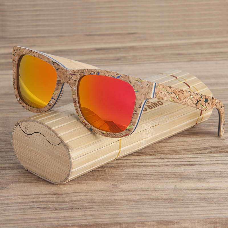 BOBO BIRD AG021 Brand Design Unique Cork Wooden Sunglasses Men Women Luxury Variation Retro Eyewear Polarized Sunglasses As Gift