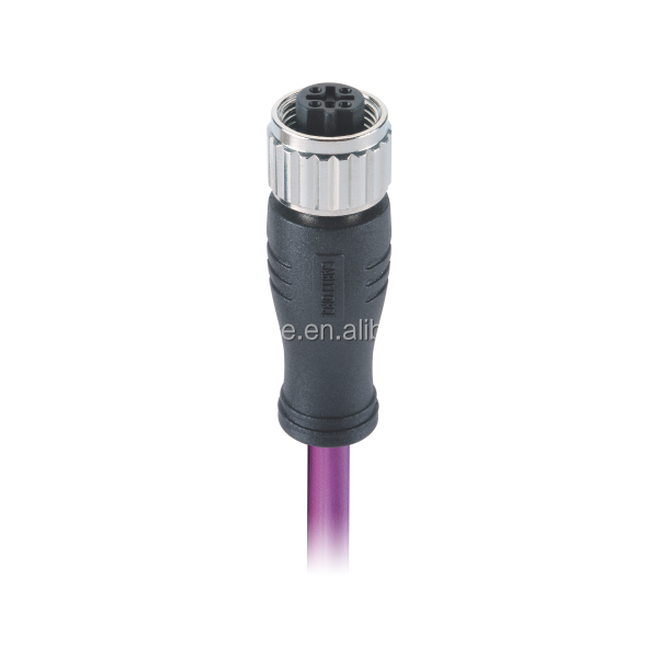 DeviceNet Cable Plug Connector M12 5Pin A-Coding Female Connector Molded 24AWG x 1P + 22AWG x 1P Cable