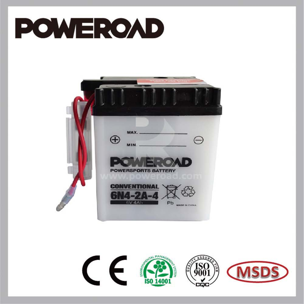 High quality Poweroad 6V conventional dry charged lead acid motorcycle battery for motorcycles