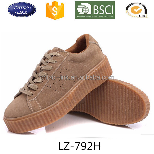 2016 New Women Casual Shoes Women's Chaussure black Suede leather Shoes womens lace-up platform flats