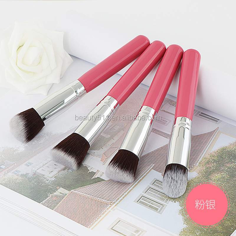 4 Large Cosmetic Brushes black handle flat round bevel head round head makeup brush set