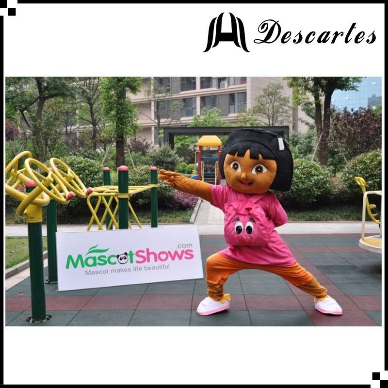 High quality girl plush costume, event dress Dora walking costume for adults