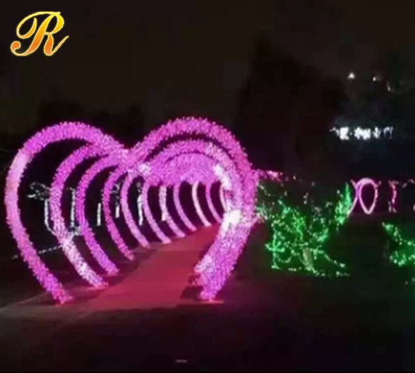 Heart shaped metal wedding arch light for outdoor decoration