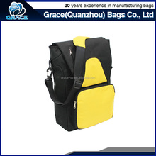 high quality wholesale black and yellow polyester custom messenger bag