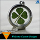 Jewelry 2016 magnetic closure real dried four leaf clover necklace