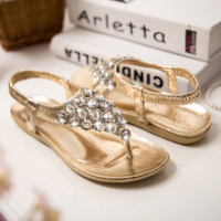 The new 2014 summer Bohemia blindfold set auger rhinestone sandals women's shoes