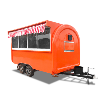 UKUNG 340cm customized burger vending caravan, new style fiberglass food truck with sliding service window