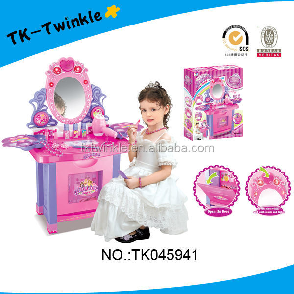 Girls muscial makeup table with mirror pink dressing table toys