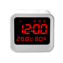 Red Digital Table LED Clock with 3 Alarms and Thermometer and Hygrometer