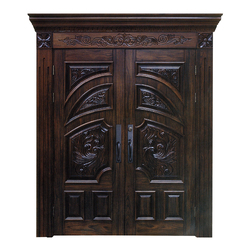 Customized Double Leaf Main Gate Designs Pictures Solid Wood Door