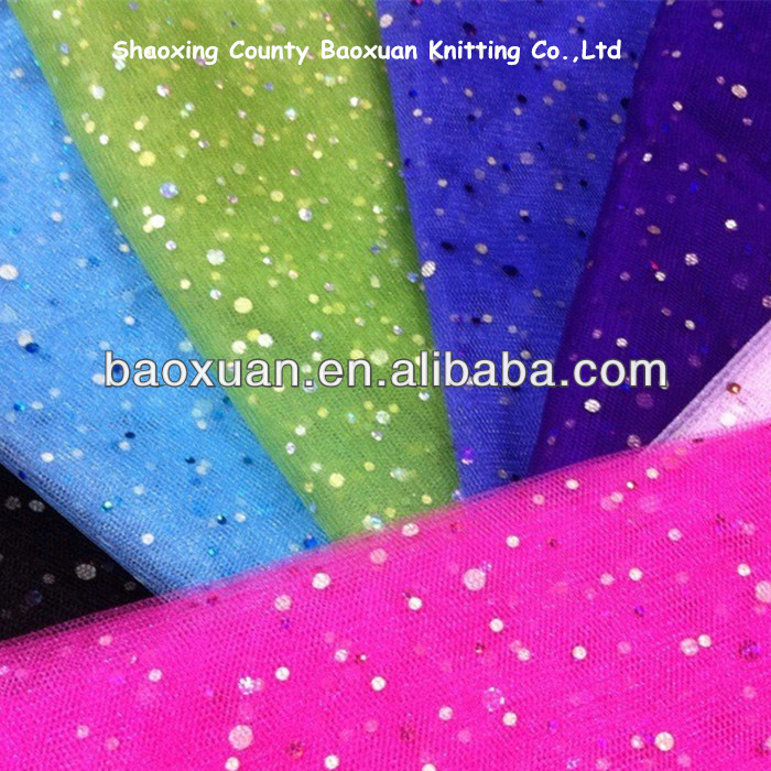 Knit 100% Poly Silver Sequin Tulle Fabric