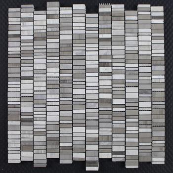 Gray Marble Mesh Mounted Mosaics Tiles Backsplash