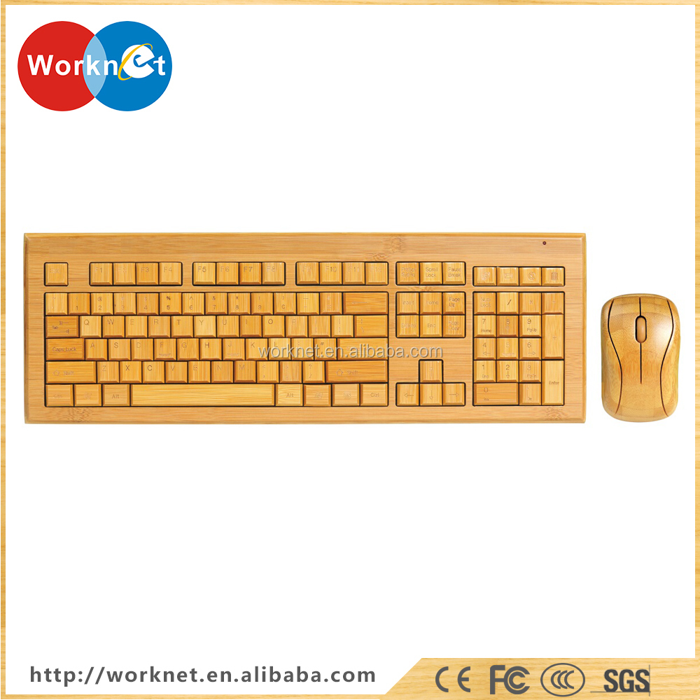 Shenzhen Worknet new handmade bamboo wooden PC wireless keyboard and mouse - Swiss language style