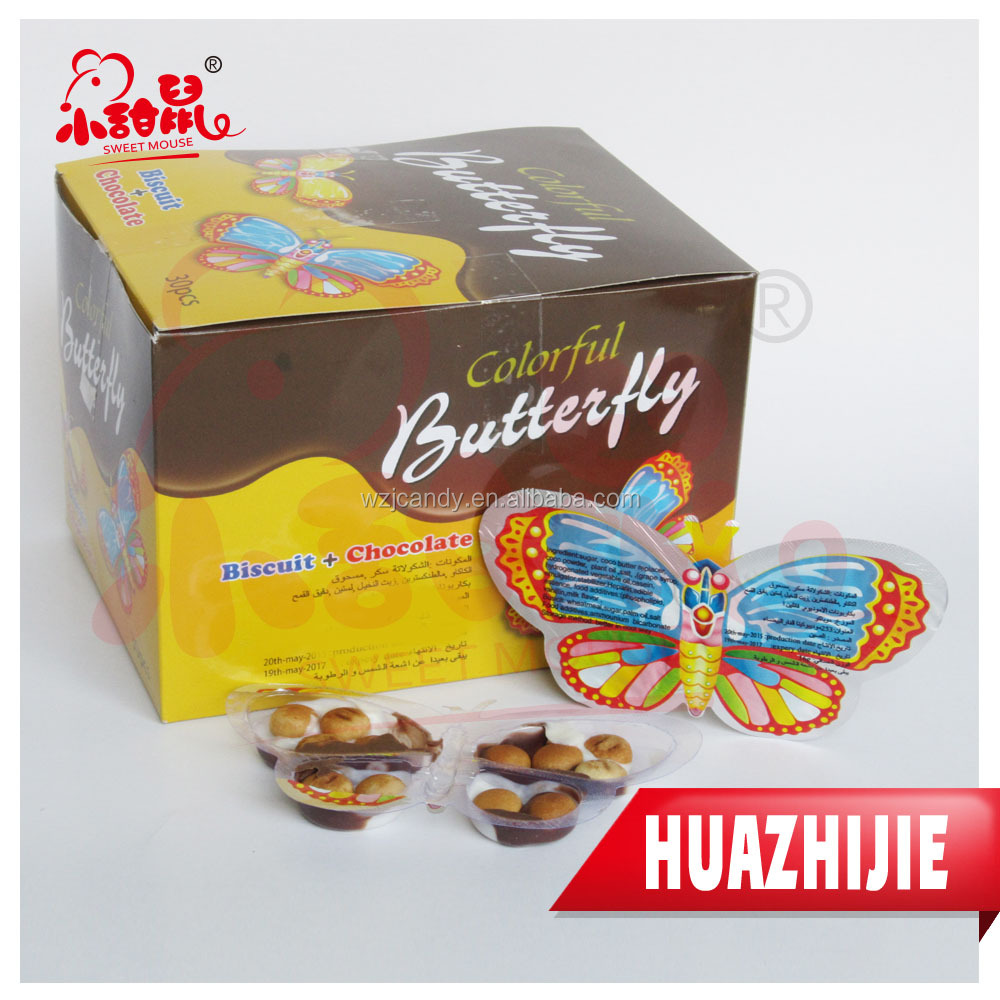 301201610 New product butterfly shape chocolate and biscuit candy