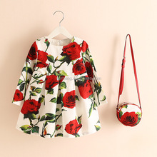 2017 fashion full printed one piece baby party girls dresses with bag