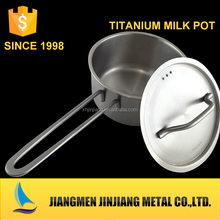 top selling 0.5mm thickness ss430 straight and foled edge titanium stainless steel boiling milk pot