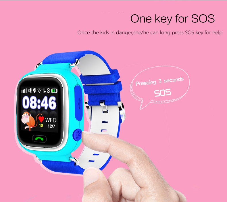 Shenzhen YQT kids smart watch Q90 wholesale 1.22 touch screen kids gps watch