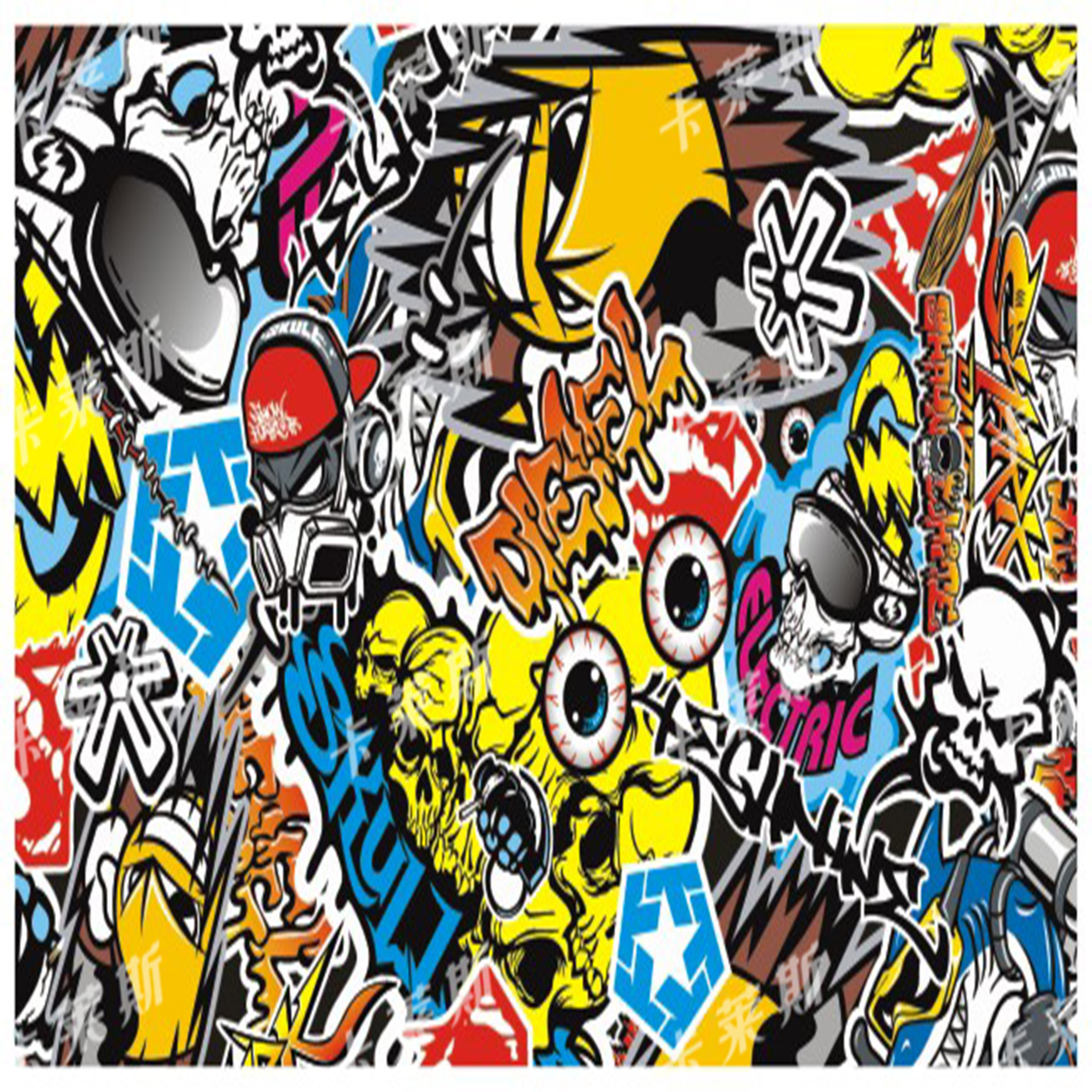 Graffiti art bomb stickers for auto 1 5210m vinyl decal sticker car change color doodle film