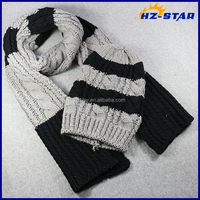 HZM-16053008 Wholesale winter warm thick knitted men winter hat and scarf set wholesale