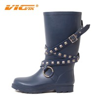 2015 hot sex goodyear ladies rubber rain boots with buckle