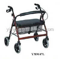 Convenient easily fold pvc padded seat aluminum rollator walking stick
