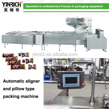 Automatic aliger and pillow type candy bar wrapping machine