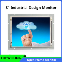 "Wall Mounted Small 8"" Open Frame LCD Monitor Touch Optional"