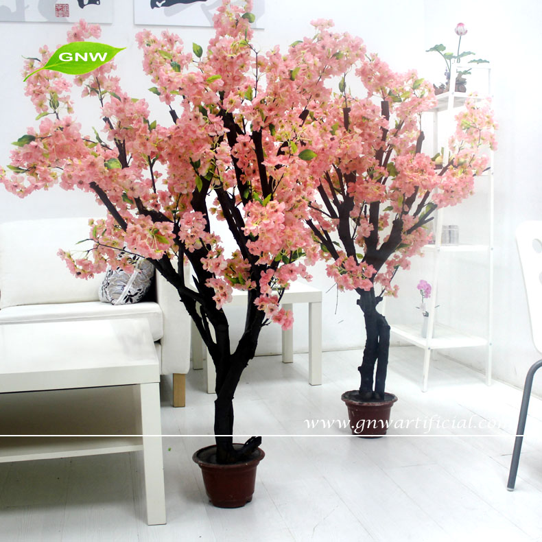 GNW BLS1707009 Artificial Wedding Warm White cherry blossom Trees Home Decoration Pieces for table Centerpieces