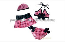2013 New stye three-piece swimsuit baby swimwear sun hat child swimwear twinset Bikini swimwear with cap girl swimsuit