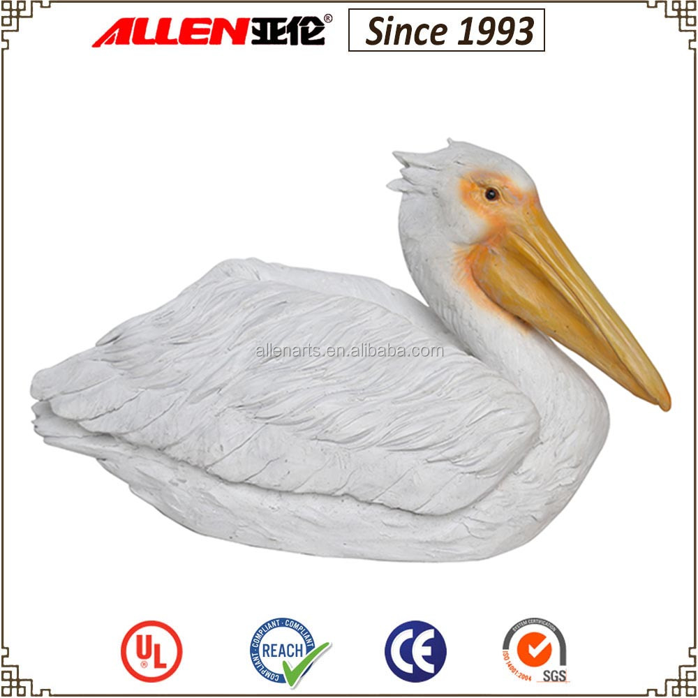 "11.6"" large resin bird animal garden decoration white pelican statues for sale"
