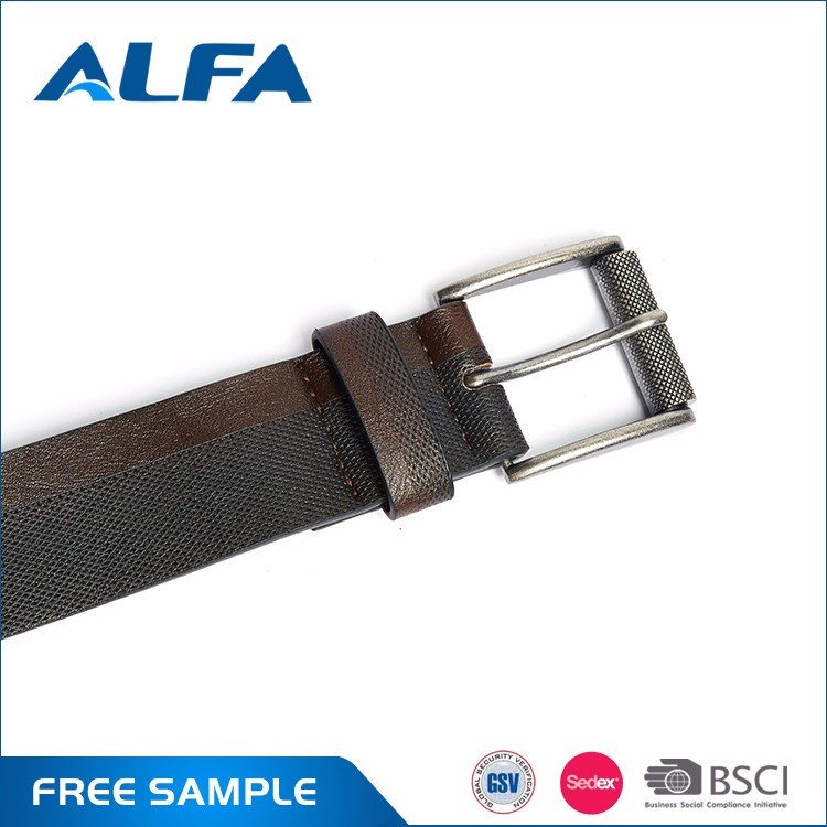 Alfa High Quality Custom Print Double Color New Classic Fashion PU Leather Belt For Men