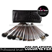 Top quality wholesale professional 18pcs coffee crocodile makeup brushes air brush makeup