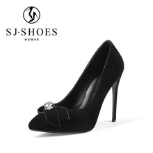 5576 Fashioable black genuine leather dress shoes, platform pumps women big rhinestone heel