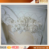 Indoor used hand carved marble stone white fireplace mantel