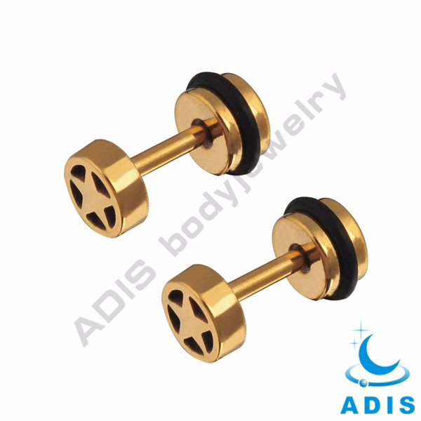 Body piercing jewelry gold anodized fake ear piercing plugs