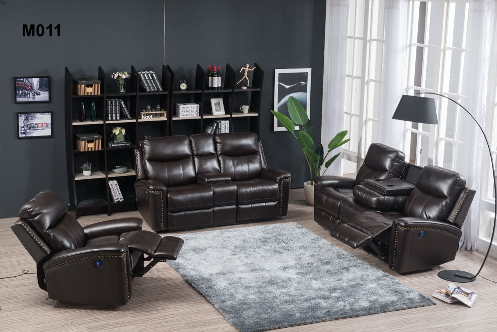 hot sell power recliner sofa with console and drop table