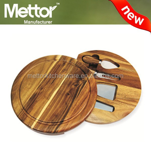 2015 Most popular product round wooden cutting board, acacia wood cutting board, acacia wood roud cheese board with knives