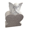 G635 granite heart shaped tombstone with angel